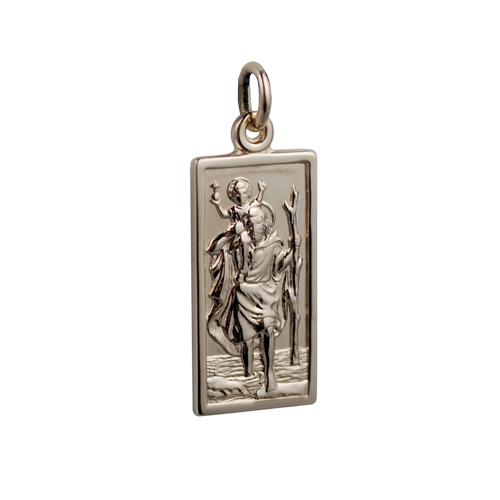 Zodiac religious jewellery signet and claddagh rings p9226fs00 14ct yellow gold on silver 120th 26x13mm rectangular st christopher pendant aloadofball Images